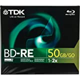 TDK BD-RE Dual Layer Blu Ray Disc, 50gb, 1-Pack Jewel Case