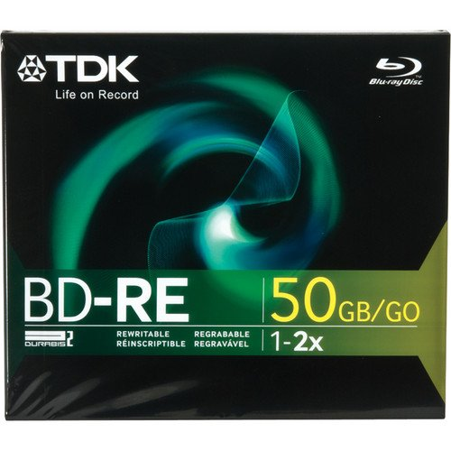 TDK BD-RE Dual Layer Blu Ray Disc, 50gb, 1-Pack Jewel Case TDK Media BD-RE50