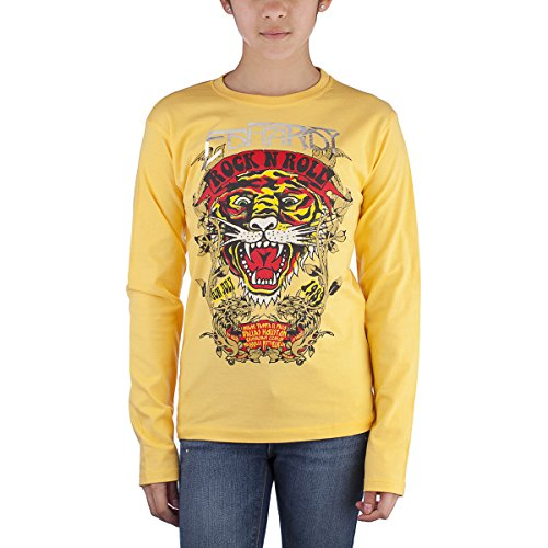 Ed Hardy Kids Girls Long Sleeve Tiger T-Shirt - Yellow - X-Large ()