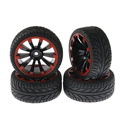 [SkyQ 1/16 1/10 RC Car Tires Wheels Plastic Rims 3mm Offset 12mm Hex for HPI REDCAT HIMOTO Remote Control Car 20mph Pack of 4] (Hpi Rim)