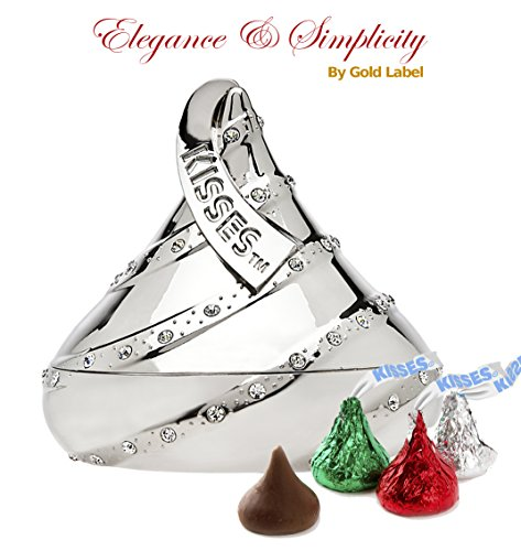 Godinger Hersheys Kisses Bling Covered Ring Holder with 6 oz. Holiday Colored Hershey Kisses Chocolate | Onion Dome Shaped Chrome Plated Trinket Box Home Adornment Gift Set