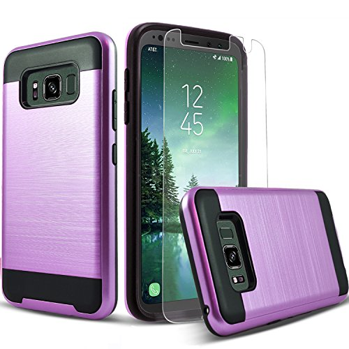Circlemalls 2-Piece Style Hybrid Shockproof Protective Phone Cases Cover Compatible For [Samsung Galaxy S8 Active], With [Premium Screen Protector] And Stylus Pen [Not Fit Galaxy S8]-Purple