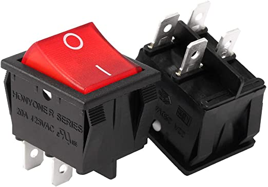 20A 250V AC red rojo de encendido//apagado de doble Polo 4 Pin DPST Interruptor de calidad 15A