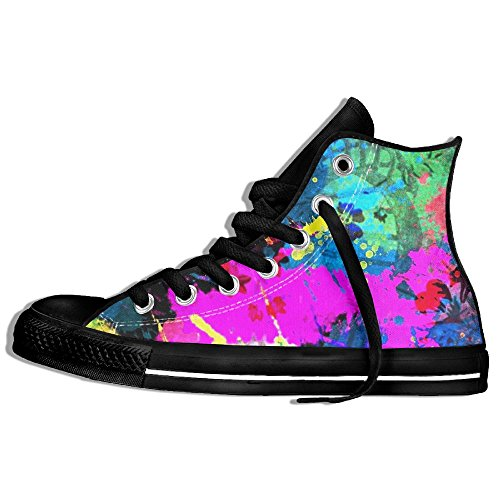 Black White And Dance Youtube Costume (Abstract Art High Top Sneakers Canvas Shoes Slip-On Casual Sneaker Hot Dance Unisex Style Size)