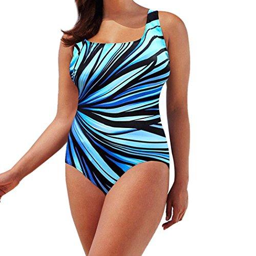 Boyiya Striped Swimwear, Womens Swimming Costume Padded Swimsuit Monokini Swimwear Push Up Bikini Siamese Sets (L, - Swimming Training Costumes