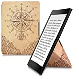 Cover case for Kobo Aura ONE with stand - kwmobile Ultra slim case made of synthetic leather Design baroque compass in dark brown beige