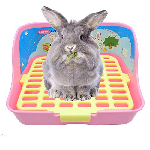 RUBYHOME Rabbit Cage Litter Box Easy to Clean Potty Trainer for Cat Adult Guinea Pig Ferret Small Animals (Pink)