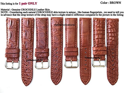 Brown Leather Hamilton (22mm / 20mm Genuine CROCODILE Skin Leather Watch Strap Band for men Handmade (BROWN Leather/BROWN Stitching) #5)