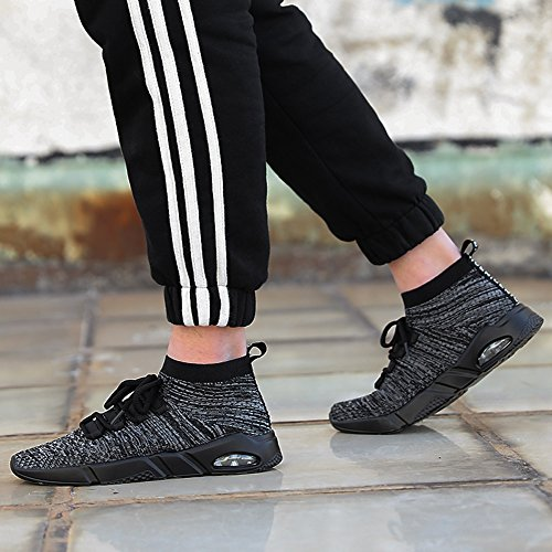 Ceyue Mens Donna Casual Walking Sneaker Scarpe Nere Leggere Scarpe Sportive Da Corsa Grigie