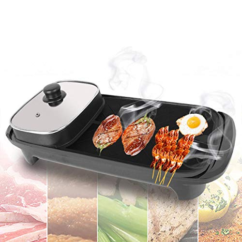 220v Pan (2-In-1 220V 1360W Electric Teppanyaki Barbecue BBQ Grill Pan Table Hotpot Oven Cooking Stove)