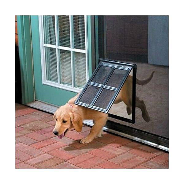 Namsan Magnetic Automatic Lock/Lockable Pet Screen Door Dog Gate Way Pet Door for Screens – Larger 12″ x 16″
