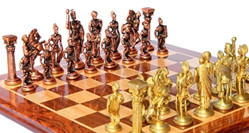 "15"" x 15″ Collectible Rosewood Wooden Chess Game Board Set+Brass Roman Figure Pieces (Delivery < 7 Days)"