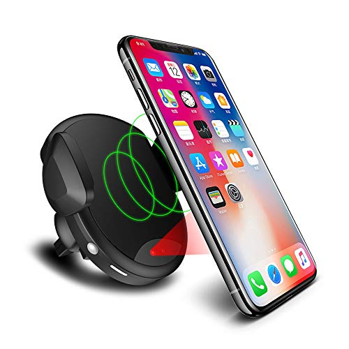 AWINNER Automatic Qi Wireless Car Charger Air Vent Phone Holder, Single Hand Car Phone Mounting for iPhone X/XS/XR/XS MAX 8/8 Plus Samsung Galaxy Note 9 Note 8 S9 S9 Plus S8 S7/S7 Edge