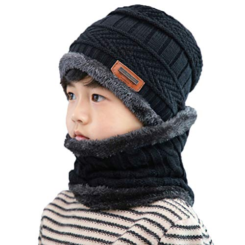 XYIYI Kids Winter Knit Hat and Scarf Set, 2Pcs Warm Fleece Lining Beanie Cap and Scarf for 5-14 Year Old Boys Girls (Black)