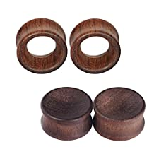 D&M Jewelry 2Pair Vintage Brown Natural Wood Double Flared Hollow+Saddle Tunnels Ear Plugs Stretcher Gauges