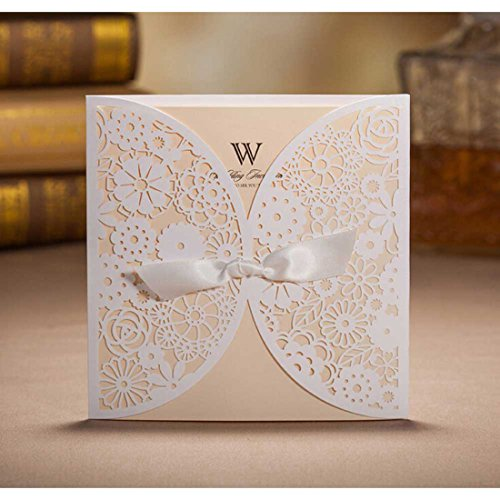 wishmade 50 count set laser cut invitations cards kits white for wedding bridal shower birthday with ribbon tri fold printable paper and envelopes - Wedding Invitations Sets