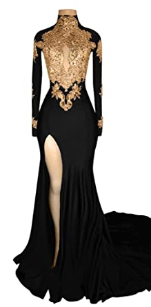 XJLY Arabic High Neck Mermaid Prom Dresses Side Split Long Sleeve Party Dress