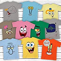 Sponge Bob-and-Friends Costume Halloween Group Matching Cartoon Characters Customized Handmade Hoodie/Sweater/Long Sleeve/Tank Top/Premium T-shirt