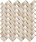M S International Crema Arched Herringbone 12 In. X 10 mm Polished Marble Mesh-Mounted Mosaic Wall Tile, (10 sq. ft., 10 pieces per case)