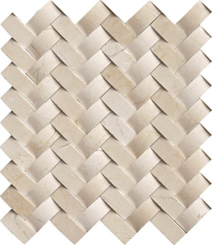 M S International Crema Arched Herringbone 12 In. X 10 mm Polished Marble Mesh-Mounted Mosaic Wall Tile, (10 sq. ft., 10 pieces per case) by MS International