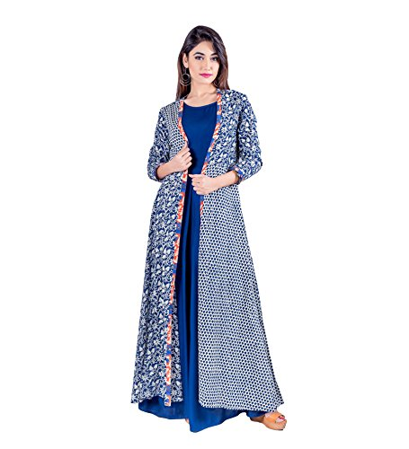 Missprint Women's Hand Block Printed Open Floor Length A Line Jacket With Full Length Cotton Inner Floor Length Gown