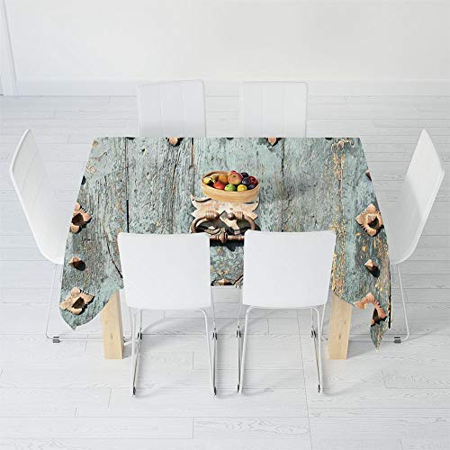 - Dust-Proof Tablecloth,Rustic,for Kitchen Dinning Tabletop Decoration,84 X 70.1 Inch,European Cathedral with Rusty Old Door Knocker