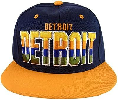 Detroit 4-Color Script Men's Adjustable Snapback Baseball Caps