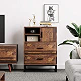 WLIVE 2 Drawer Chest, High Dresser, Storage Cabinet with Open Space, Steel Frame for Home Office, Rustic O9 Oak
