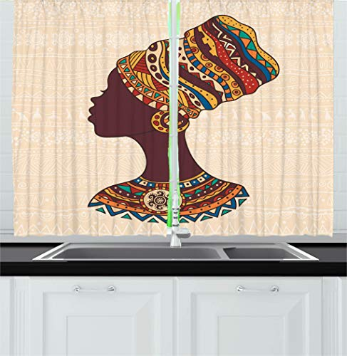 Glamour Curtain Panel - Ambesonne Tribal Decor Kitchen Curtains, African Woman in Traditional Ethnic Fashion Dress Portrait Glamour Graphic, Window Drapes 2 Panels Set for Kitchen Cafe, 55 W X 39 L Inches, Cream Brown