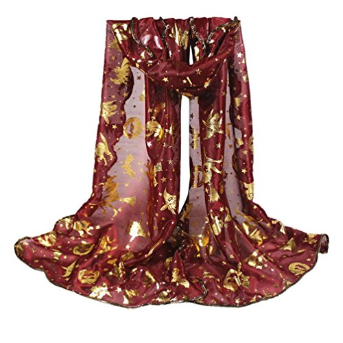 Scarf,Han Shi Women Halloween Pumpkin Print Scarves Long Soft Voile Wrap Shawl Stole (L, Wine) (Halloween In Times Square 2017)