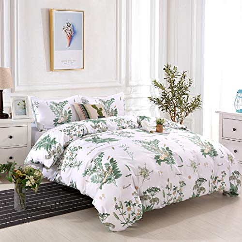 YMY Lightweight Microfiber Bedding Duvet Cover Set, Floral Printing Pattern (Green, Queen) (Covet Duvet)