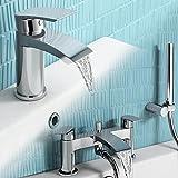 iBathUK   Chrome Basin Sink Mixer Tap + Bath Filler Hand Held Shower Head Set TP457