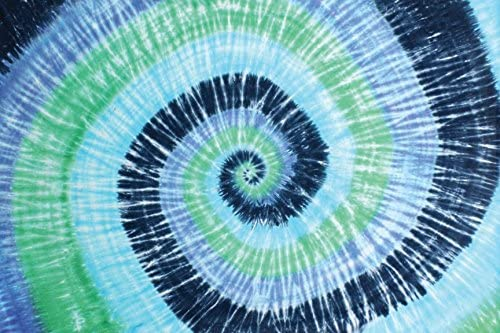 Sunshine Joy Blue Green Spiral Tie-Dye Tapestry Hanging Wall Art – Great for Apartments, Dorms, Homes, and Office
