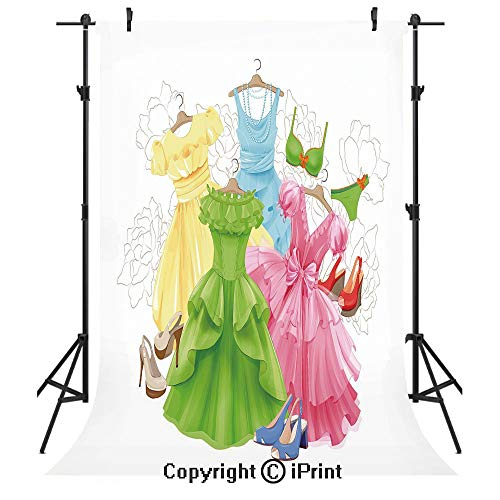 (Heels and Dresses Photography Backdrops,Princess Outfits Bikini Shoes Wardrobe Party Costumes Girls Room Decor,Birthday Party Seamless Photo Studio Booth Background Banner 5x7ft,Multicolor)