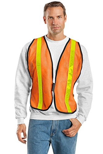 (Port Authority Men's Mesh Enhanced Visibility Vest L/XL Safety Orange)