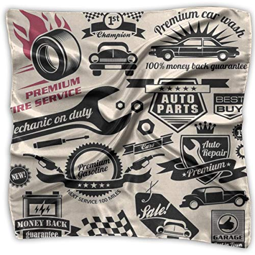 Silk Logo Ties Necktie (Bandana Head and Neck Tie Neckerchief,Car Repair Shop Logos Monochrome Car Silhouettes Best Garage In Town,Headband)