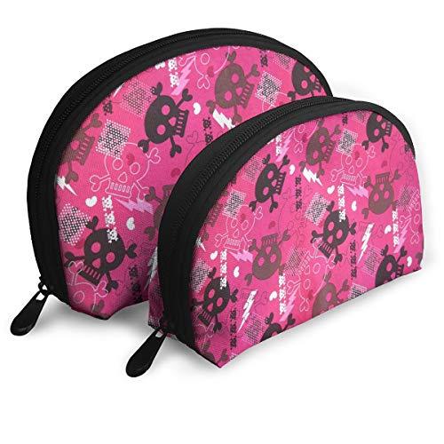 (Halloween Girly Punk Cosmetic Bag - 2 Piece Set Makeup Travel Pencil Pen Case Storage)
