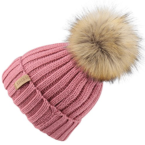 FURTALK Kids Winter Faux Fur Pom Pom Hat Toddler Boys Girls Kids Knitted Beanie Hat (Ages 1-8)