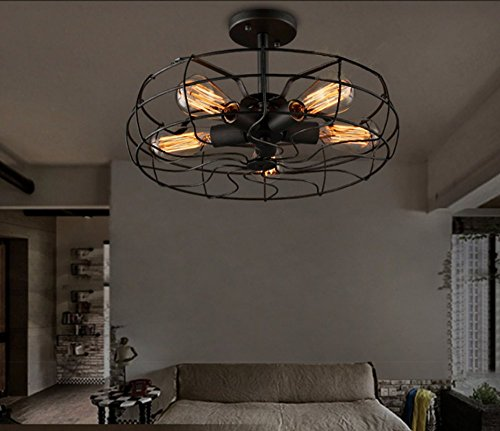 Electric Ceiling Fan 5 Light Led Ceiling Light Fixture Industrial
