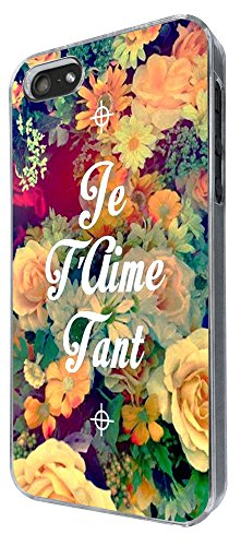 630 - Floral Shabby Chic Roses Je t'aime Tant i love You Design iphone 5 5S Coque Fashion Trend Case Coque Protection Cover plastique et métal