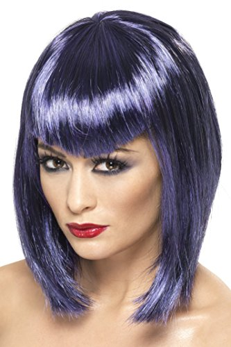 Smiffy's Women's Short Purple Blunt Angle Wig with Bangs, One Size Vamp Wig, 5020570320730 (Zombie Costumes Women)