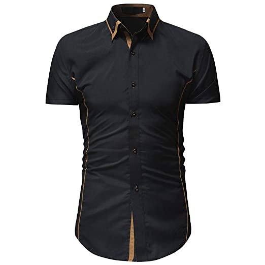 76dea3a4 Men's Shirts Solid Casual Button Down Standard-fit Business Short Sleeve  Shirt Top (XXXL