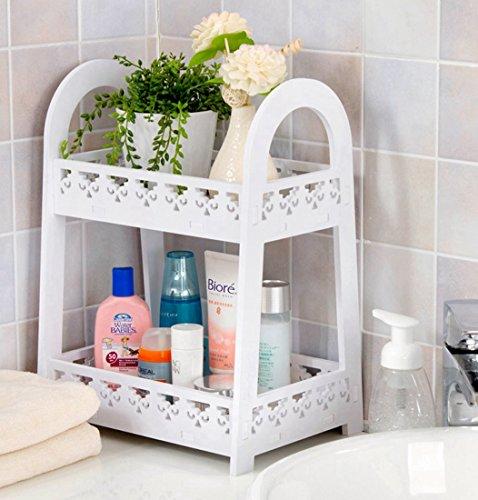 Kitchen Bathroom Office Double Layer Storage Holder European Style Cosmetic Storage Rack Bathroom Shelf Corner Storage/Desktop Organizer