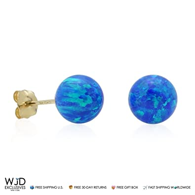 64e6a7548 14k Yellow Gold 7mm Simulated Fire Opal Ball Stud Push Back Earrings, Blue