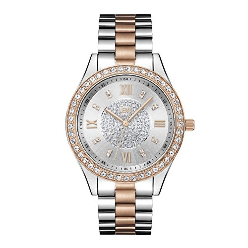JBW Women's J6303D Mondrian Analog Display Japanese Quartz Two Tone Rose Gold Silver Watch with Pave Diamond Face from JBW