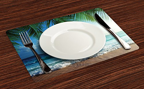 Ambesonne Ocean Place Mats Set of 4, Palms Tropical Island Beach Seashore Water Waves Hawaiian Nautical Marine, Washable Fabric Placemats for Dining Room Kitchen Table Decor, Blue Green Turquoise