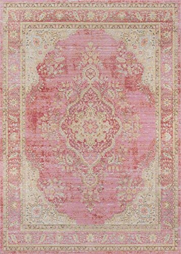 Momeni Rugs ISABEISA-1PNK4060 Isabella Traditional Medallion Flat Weave Area Rug, 4' X 6', Pink