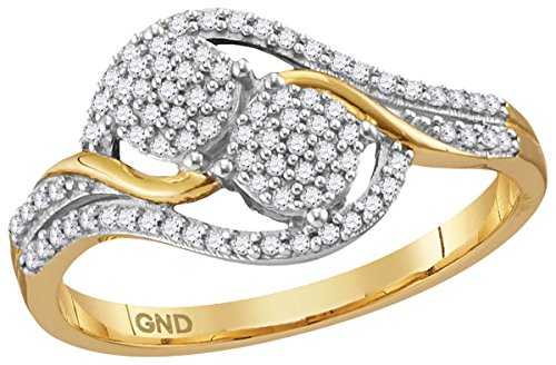 - 10kt Yellow Gold Womens Round Diamond Double Circle Cluster Ring 1/5 Cttw