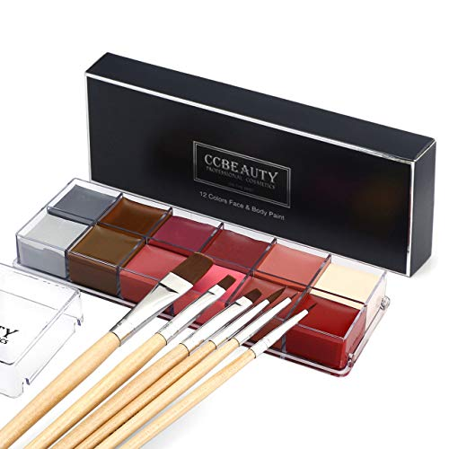CCbeauty Professional Face Paint Oil 12 Colors Halloween Body Art Party Fancy Make Up with 6 Wooden Brushes,Light