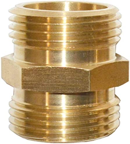 HQMPC Garden Hose Adapter Male to Male 3/4 Inch Brass Connector Double Male